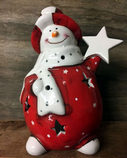 Large Fat Snowman Ceramic Tea Light Holder - with Star